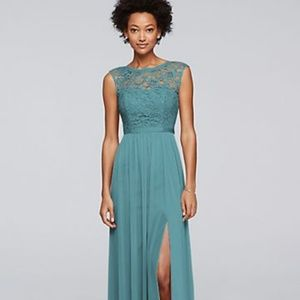 Long Bridesmaid Dress with Lace Bodice  F19328